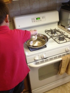 Little man making the second batch all on his own.