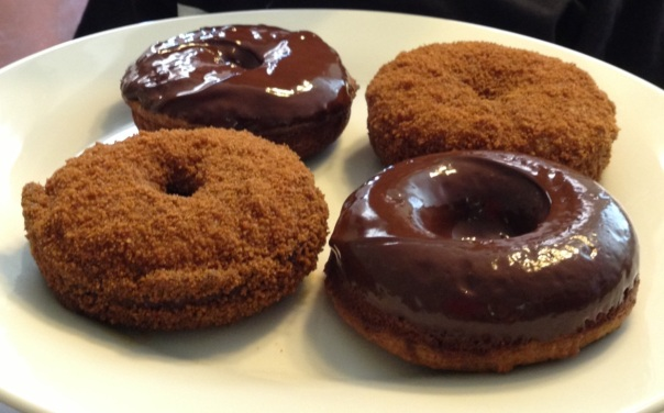 Pumpkin Donuts OR Muffins with dark chocolate glaze and cinnamon coconut sugar topping!!!