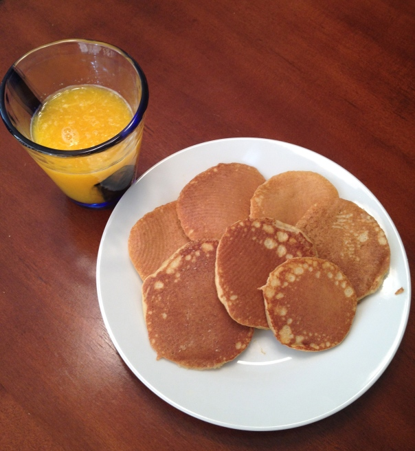 Paleo Banana Pancakes with Fresh Squeezed Orange Juice (courtesy of my 7yo son)