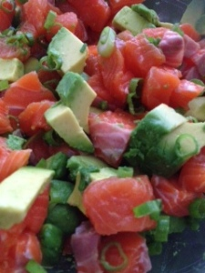 Sashimi with avocado and green onion. Refreshing and yummy!